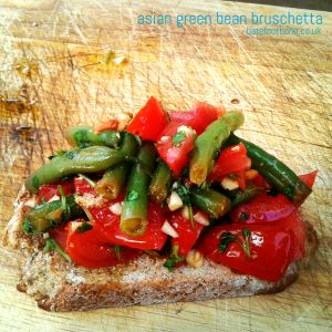 Asian green bean bruschetta