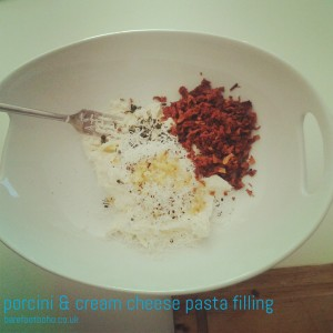 porcini & cream cheese pasta filling