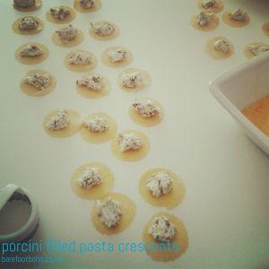 porcini filled pasta crescents
