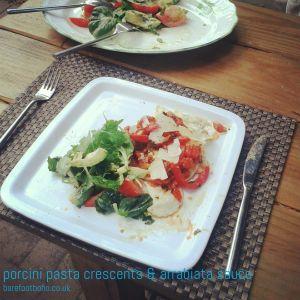 porcini pasta crescents with arrabiata sauce